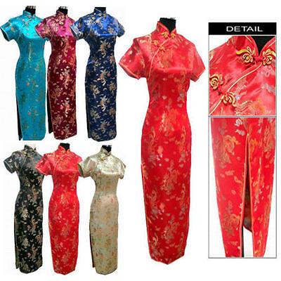 New Women Lady Girl Long Dragon&Phoenix Cheongsam Evening Gown Dress/Qipao S-XXL