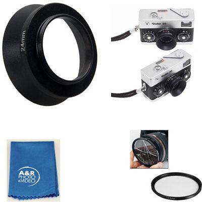24mm Screw in Metal Lens Hood Shade + Filter For Rollei 35 35T 35TE Film Camera  (Metal Lens Shade)