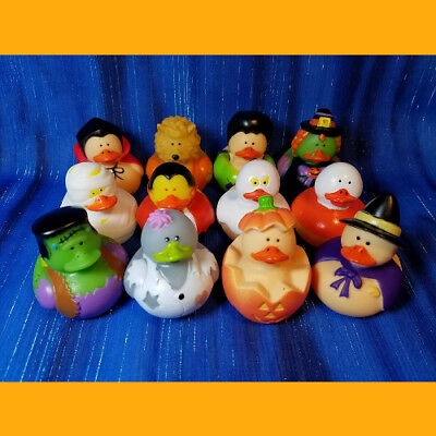 12 Halloween Rubber Ducks Frankenstein Witch Mummy Ghost Werewolf Dracula Zombie ()