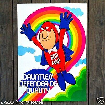 Vintage Old BUDWEISER BEER BUD MAN Beer Poster Glossy Budman Flying NOS 1970s