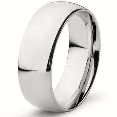 8mm Wide Pure Solid 925 STERLING SILVER Plain Wedding Band Ring MEN