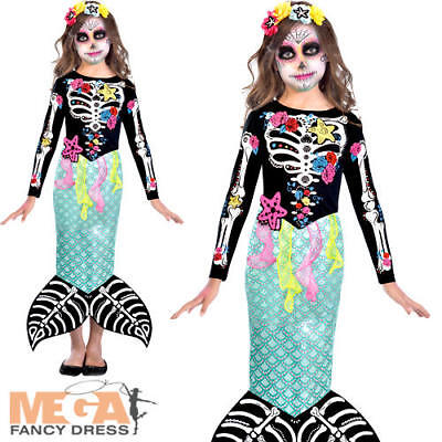 Day of the Dead Mermaid Girls Fancy Dress Halloween Skeleton Childs Kids Costume - Dead Mermaid Costume