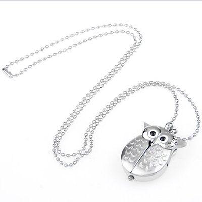 quartz watch necklace pendant silver plated owl LW
