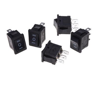 5 Pcs Spdt Onoffon Mini Black 3 Pin Rocker Switch Ac 6a250v 10a125v Biuj