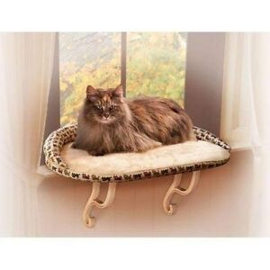 K-H-KITTY-SILL-DELUXE-CAT-BED-WITH-BOLSTER-TAN-PRINT