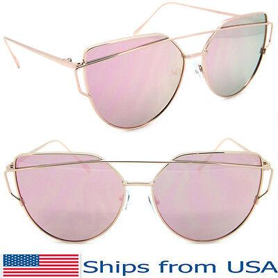 Large Oversized Cat Eye Sunglasses Metal Frame Flat Mirror Lens Women Fashion
