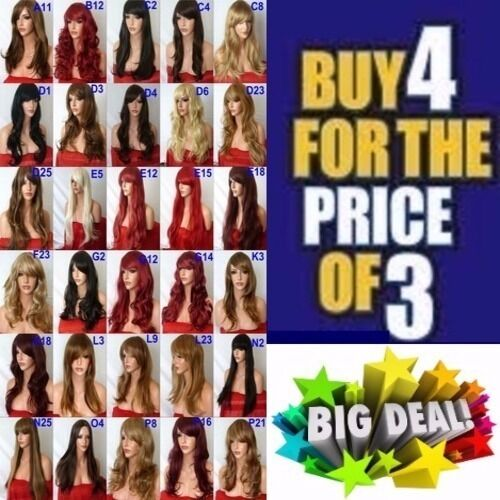 Brown Red Black Blonde WIG Long Curl Wavy Wig Cosplay Full Wig Ladies Wig
