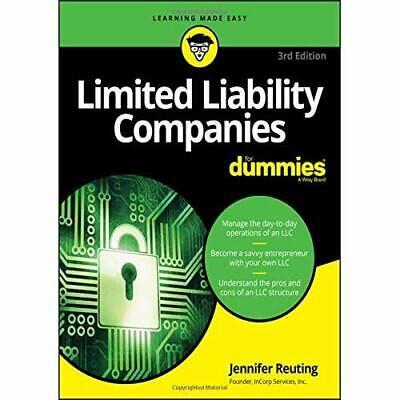 Limited Liability Companies For Dummies - Paperback / softback NEW Reuting, Jenn