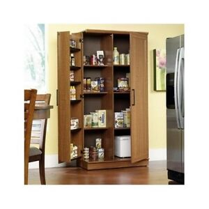 Tall Kitchen Cabinet Storage Food Pantry Wooden Shelf Cupboard Wood
