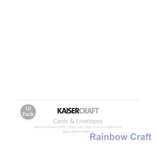Kaisercraft 10 blank Cards & Envelopes Square / C6 size (12 selections) - White