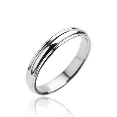 4mm Classic Traditional Wedding Band Grooved Stainless Steel Ring Sizes 5 to 13 4mm Traditional Wedding Band Ring