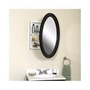 Medicine Cabinet With Oval Mirror Bathroom Wall Storage Chest Antique Bronze Ebay