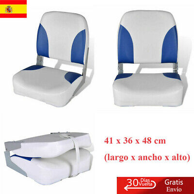 Asiento de Barco Respaldo Plegable Con Almohada Azul-Blanco 56x43x48 cm Nuevo