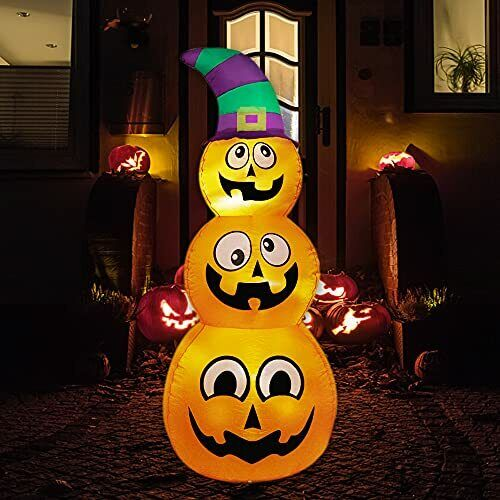 Halloween Inflatables Stacked Pumpkins with Witch Hat, 5 Ft Blow up Outdoor