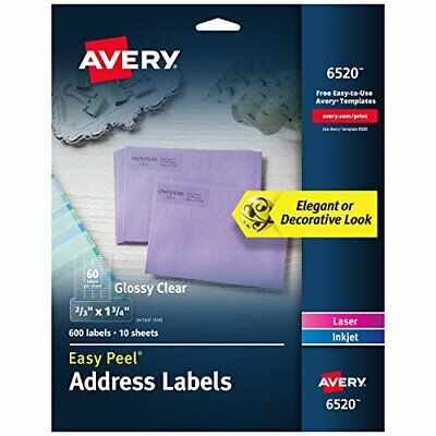 Avery Glossy Crystal Clear Return Address Labels for Laser & Inkjet Printers, -