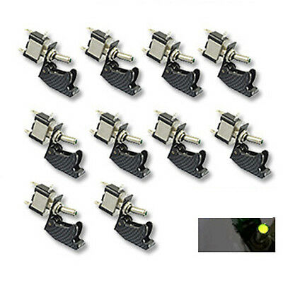 10pcs 12v Carbon Fiber Cover Car Green Led Light Spst Toggle Switch Control Sl