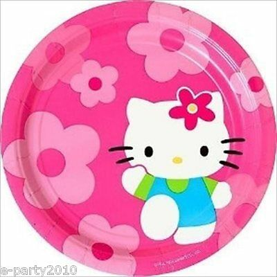 HELLO KITTY Flower Fun LARGE PAPER PLATES (8) ~ Birthday Party Supplies - Flower Party Plates