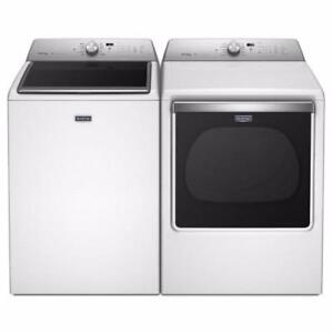 Save Big on Maytag Brand new Washer Dryer Pair 6.1 cu ft Steam Washer 8.8 cu ft Electric Steam Dryer 10 Year Warranty