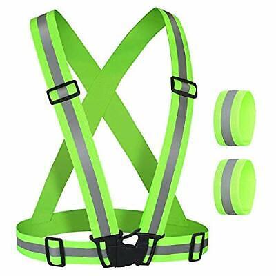 Gear For Night Running (Reflective Vest Running Gear with 2 Reflective Wristbands Straps for Night)