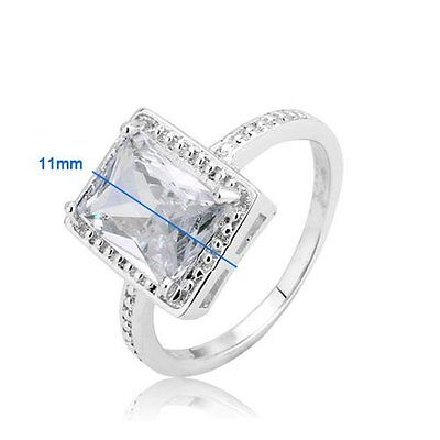 (14k White Gold Plated Brass Solitaire Princess Cubic Zirconia Engagement Ring)