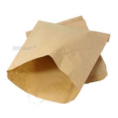 100 Paper Food Bags Brown Kraft 14