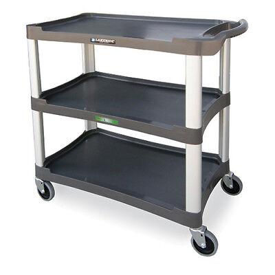 Three Shelf Plastic Utility Cart - 300 Lbs. Capacity Light Gray