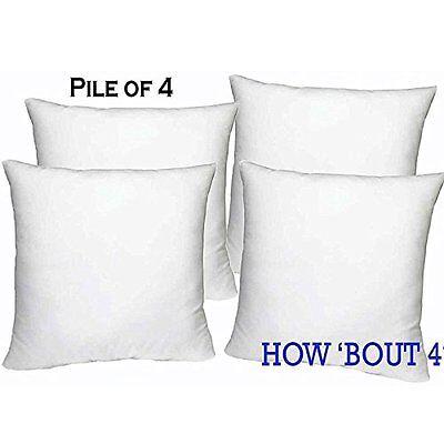 Set Of 4   18  X 18  Sham Stuffer Square Pillow Form Insert Polyester Standard