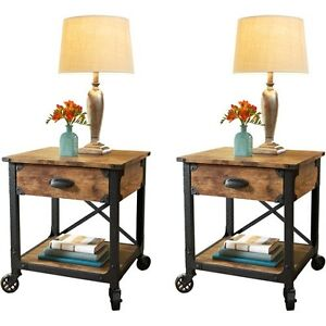 pair rustic country end tables antique vintage metal wood