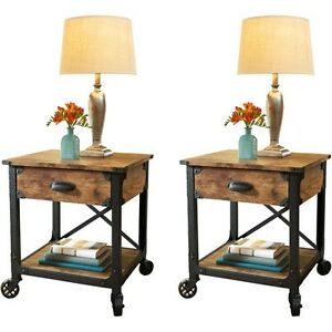 country end tables antique vintage metal wood living room side decor