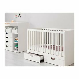 White IKEA STUVA cot and changing table / drawer set