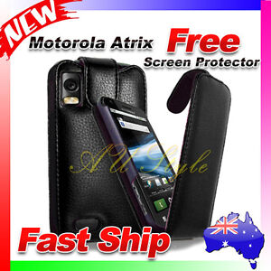 AU Cover Best Flip Leather Case Black For Motorola Atrix 4G MB860 Free Film