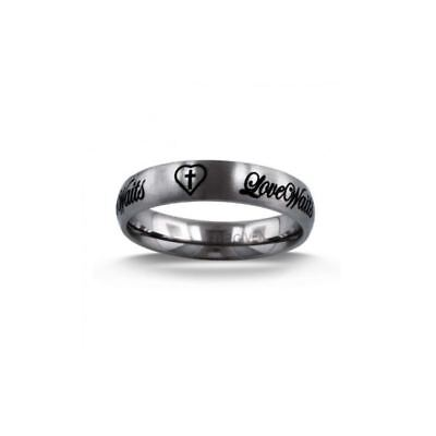 LOVE WAITS Etched Christian Purity Ring, Size 5-10 by Forgiven Jewelry Engraved Purity Ring