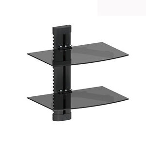 2 TIER DUAL GLASS SHELF WALL MOUNT UNDER TV CABLE BOX COMPONENT DVR DVD BRACKET