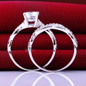 2pc Engagement Ring Set 0.8ct Diamond & Sterling Silver Ring