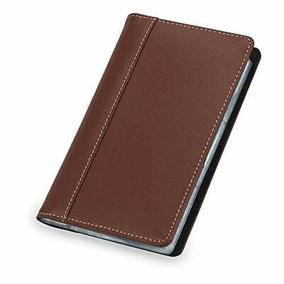Unisex Contrast Stitch Leather Business Card Holder Organizer Book Tanbrown