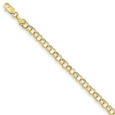14k Yellow Gold 8inches Hollow Double Link Charm Bracelet