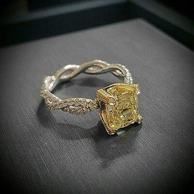 Internally Flawless 2.90 Ct Cushion Cut Fancy Yellow Diamond Engagement Ring GIA