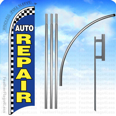 Auto Repair - Windless Swooper Flag 15 Kit Feather Banner Sign - Checkered Bb