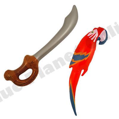 INFLATABLE BLOW UP PARROT PIRATE SWORD CUTLASS FANCY DRESS HAWAIIAN PROPS - Inflatable Parrot