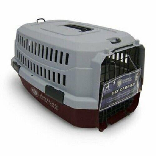 new travel dog pet crate red gray