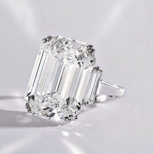 2.60 Ct Emerald Cut Three Stone w/ Baguette Diamond Engagement Ring H,VS1 GIA 1