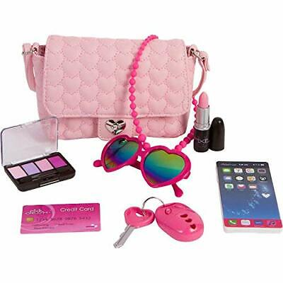 Pixie Crush Pretend Play Purse & Makeup for Girls - Pink Hearts Series Purse