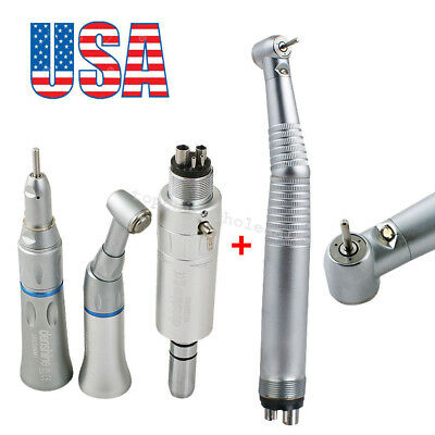 Usa Led High Low Speed Dental Handpiece Kit 4 Holes Push Button Standard Turbine