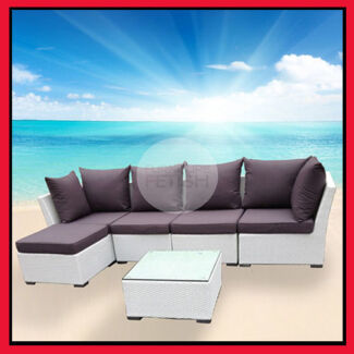 Outdoor Sofa Lounge, Chaise & Coffee Table White Rattan Wicker Nerang Gold Coast West Preview