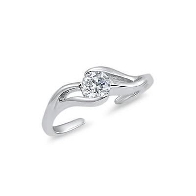 925 Sterling Silver Wave Solitaire CZ Adjustable Toe Ring