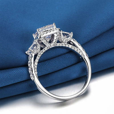 14k White Gold Over Vintage Three Stone 2.3Ct Princess Diamond Engagement Ring