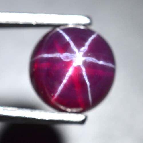 Round 9 MM Red Ruby Star Sapphire 6 Rays Corundum Cabochon RRS-1