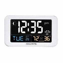 AcuRite 13040 Intelli-Time Alarm Clock with USB Charger, Indoor Temperature and