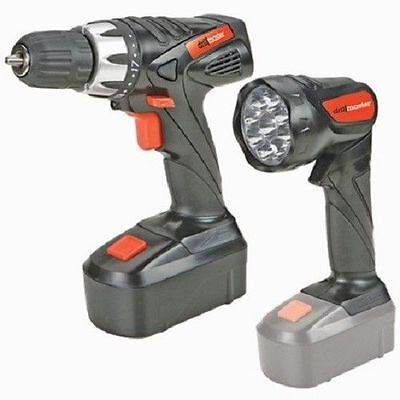 """18 Volt Cordless 3/8"""" Power Drill/Driver Rechargeable Battery LED Flashlight"""