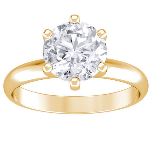 3.20 ct ROUND CUT solitaire diamond engagement Ring 14k YELLOW GOLD